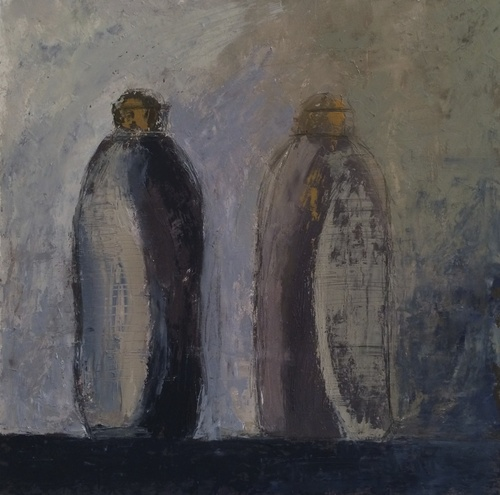 west_two_bottles_standing_10x10_oil_on_board_2014