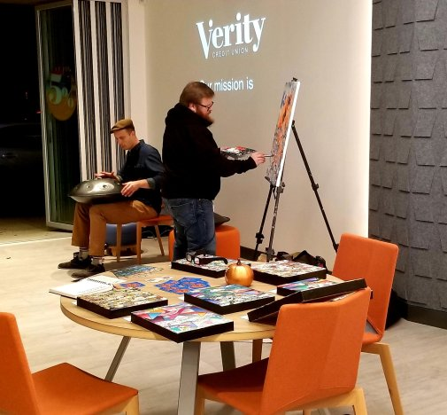Live painting by Chris Kelleher at Verity Credit Union (Art Walk Partner)