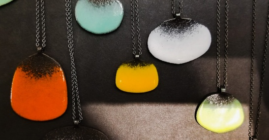 Enameled necklaces at Click! Design that Fits' group show