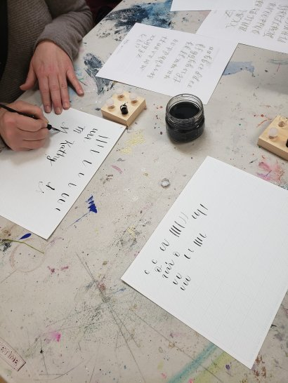 Claire Braby Calligraphy lessons at West Seattle Art Nest