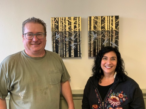Founder Shaun Doll and Salyna Gracie Encaustics at NW Encaustics Gallery, The Building