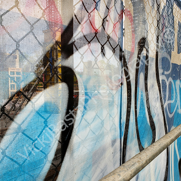 multi colored graffit fencing Med logo