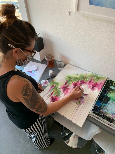 Live painting by Jenna Roby at West Seattle Grounds